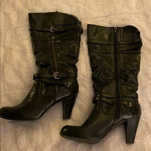 Guess boots 8.5 black tall heels shoes